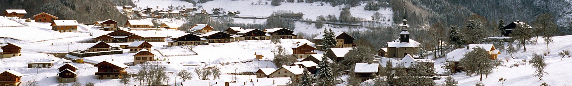 Le village de La Vernaz en hiver